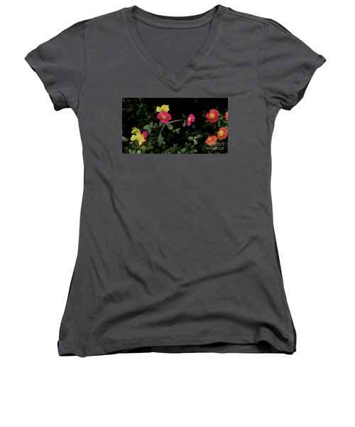 Dramatic Colorful Flowers Women's V-Neck (Athletic Fit)