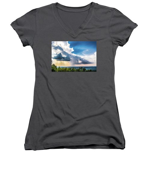 Women's V-Neck T-Shirt (Junior Cut) featuring the photograph Dramatic Sunrays Over The Valley by Shelby Young