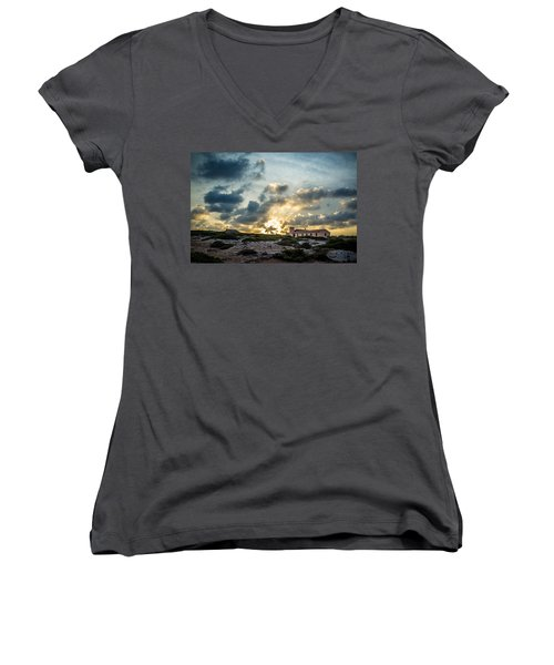 Dramatic Sunset Women's V-Neck (Athletic Fit)