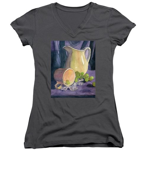 Drapes And Grapes Women's V-Neck (Athletic Fit)