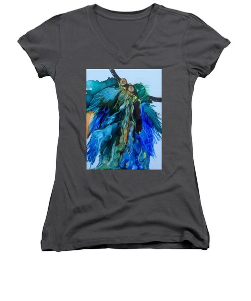 Women's V-Neck T-Shirt (Junior Cut) featuring the painting Dream Catcher by Pat Purdy