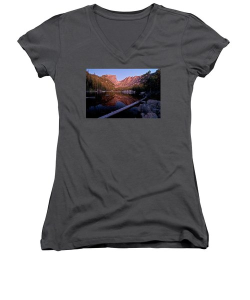 Women's V-Neck T-Shirt featuring the photograph Dream Lake by Gary Lengyel