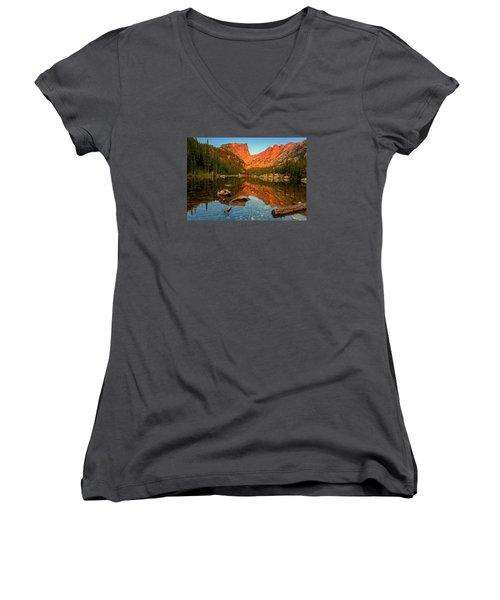 Dream Lake Sunrise Women's V-Neck T-Shirt (Junior Cut) by John Vose