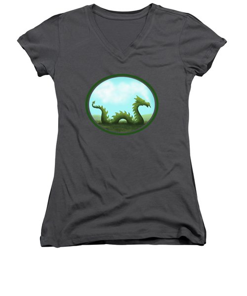 Dream Of A Dragon Women's V-Neck T-Shirt (Junior Cut) by Little Bunny Sunshine