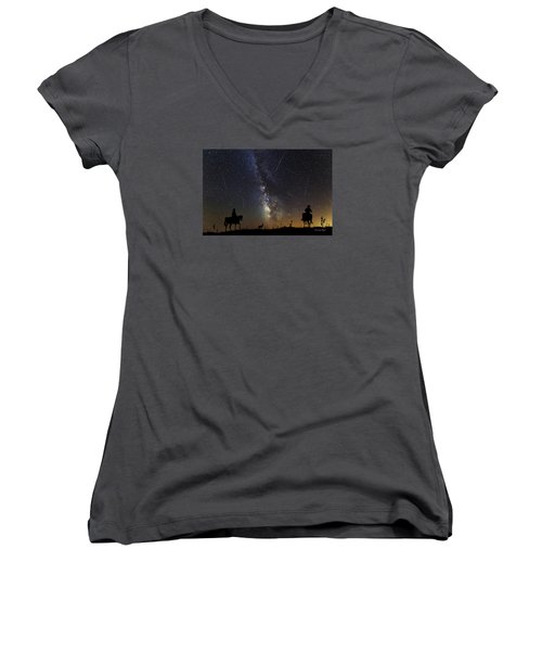 Women's V-Neck T-Shirt (Junior Cut) featuring the photograph Dream Ride At Magic Time by Karen Slagle
