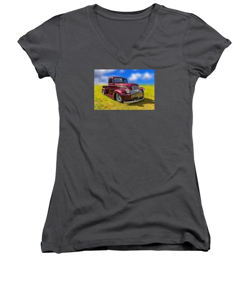 Dream Truck Women's V-Neck T-Shirt (Junior Cut) by Keith Hawley