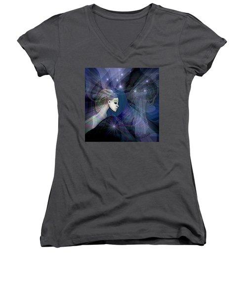 Women's V-Neck T-Shirt (Junior Cut) featuring the digital art 1101 - Dream Voyage - 2017 by Irmgard Schoendorf Welch