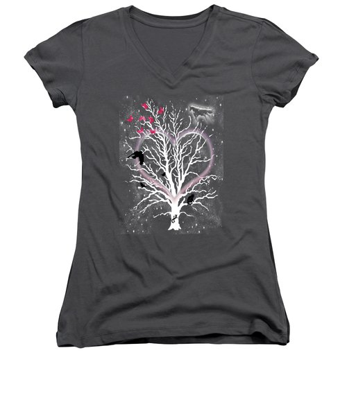 Dreamcatcher Tree Women's V-Neck T-Shirt (Junior Cut) by Methune Hively