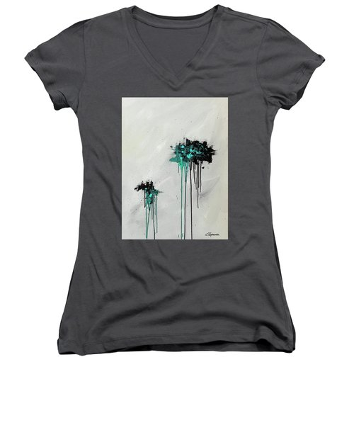 Women's V-Neck T-Shirt (Junior Cut) featuring the painting Dreamers by Carmen Guedez