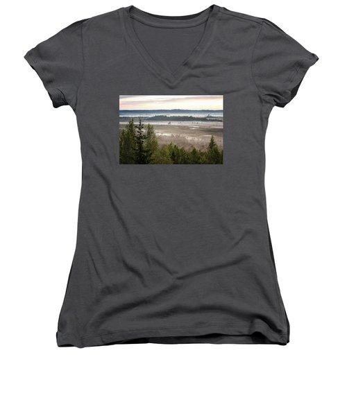 Dreamlike Landscape Women's V-Neck T-Shirt (Junior Cut) by Teemu Tretjakov