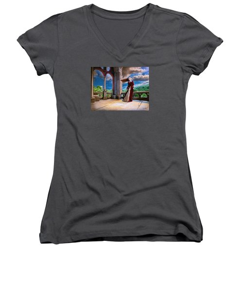 Women's V-Neck T-Shirt (Junior Cut) featuring the painting Dreams Of Heaven by Dave Luebbert