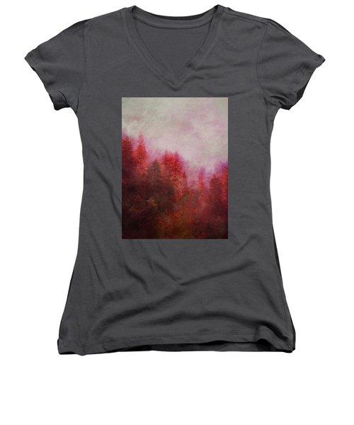 Women's V-Neck T-Shirt (Junior Cut) featuring the digital art Dreamy Autumn Forest by Klara Acel
