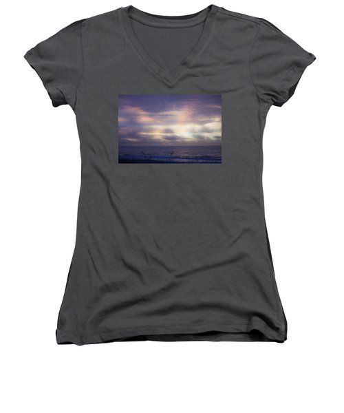 Dreamy Blue Atlantic Sunrise Women's V-Neck