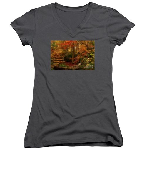 Dreamy Forest Glade In Fall Women's V-Neck