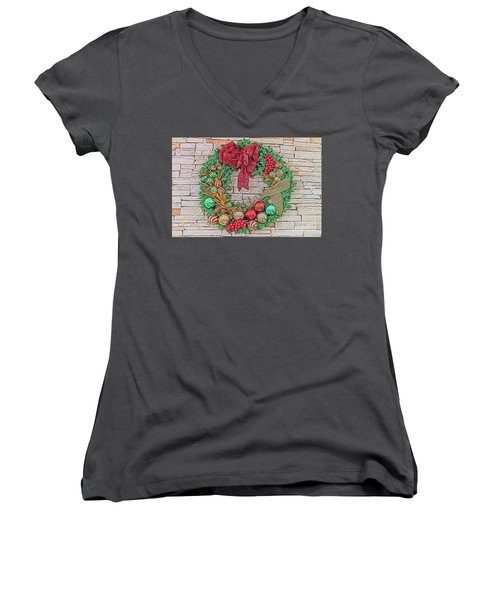 Dreamy Holiday Wreath Women's V-Neck (Athletic Fit)