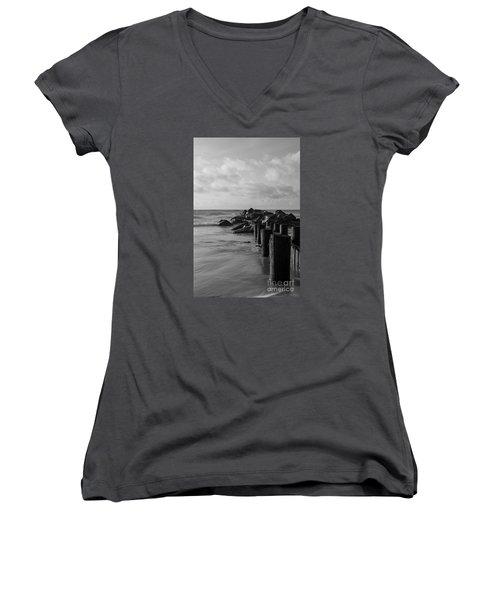 Dreamy Jettie Grayscale Women's V-Neck T-Shirt (Junior Cut) by Jennifer White