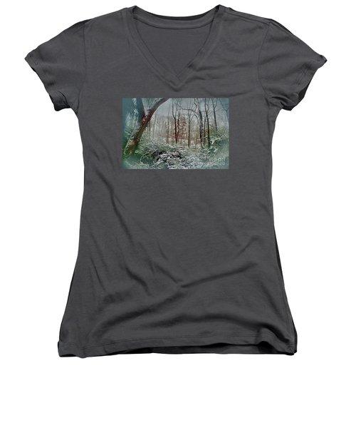 Women's V-Neck T-Shirt (Junior Cut) featuring the photograph Dreamy Snow by Sandy Moulder