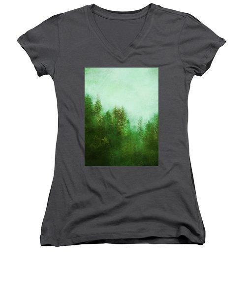 Dreamy Spring Forest Women's V-Neck T-Shirt (Junior Cut) by Klara Acel