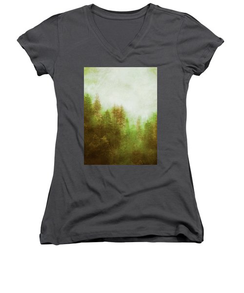 Women's V-Neck T-Shirt (Junior Cut) featuring the digital art Dreamy Summer Forest by Klara Acel
