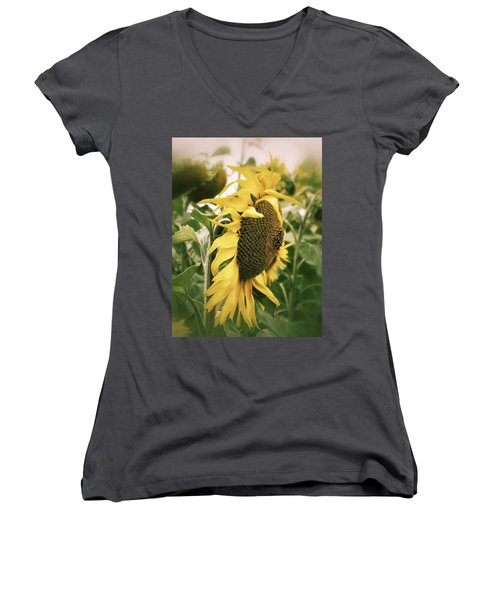 Dreamy Sunflower Women's V-Neck T-Shirt (Junior Cut) by Karen Stahlros