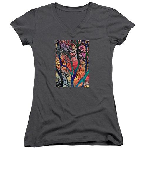 Women's V-Neck T-Shirt (Junior Cut) featuring the digital art Dreamy Sunset by Klara Acel