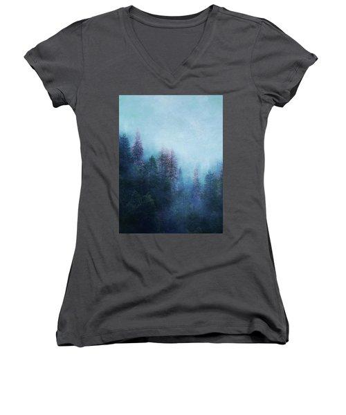 Women's V-Neck T-Shirt (Junior Cut) featuring the digital art Dreamy Winter Forest by Klara Acel