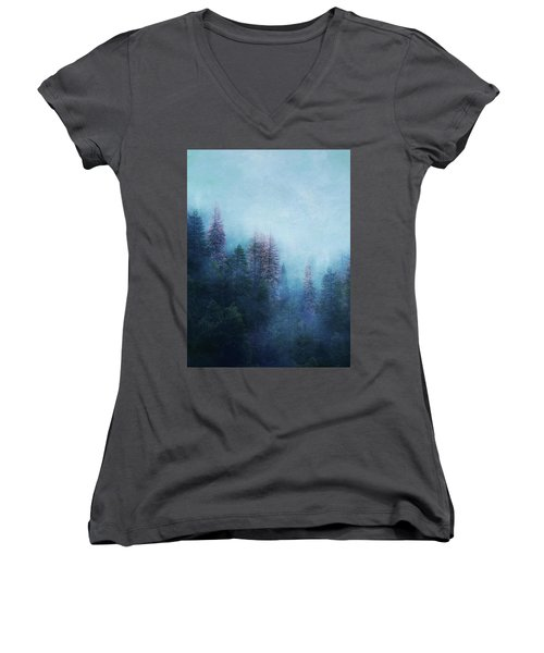 Dreamy Winter Forest Women's V-Neck (Athletic Fit)
