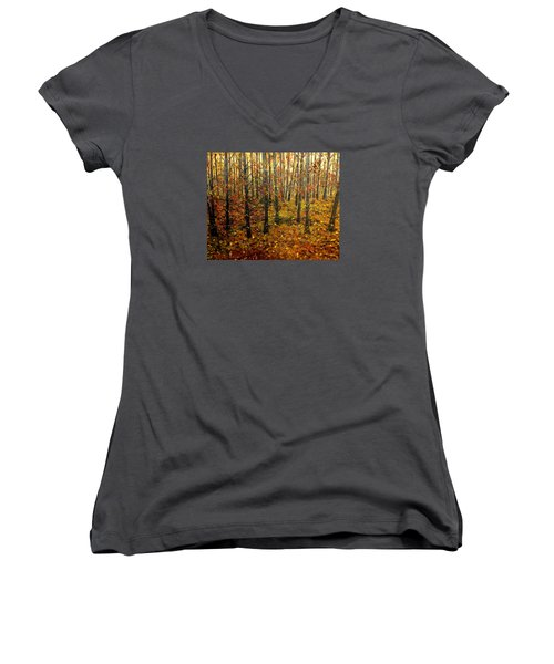 Drifting On The Fall Women's V-Neck T-Shirt (Junior Cut) by Lisa Aerts