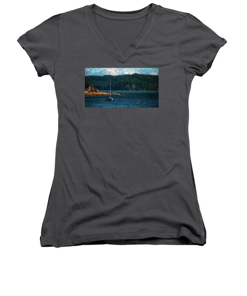 Women's V-Neck T-Shirt (Junior Cut) featuring the digital art Drifting by Timothy Hack