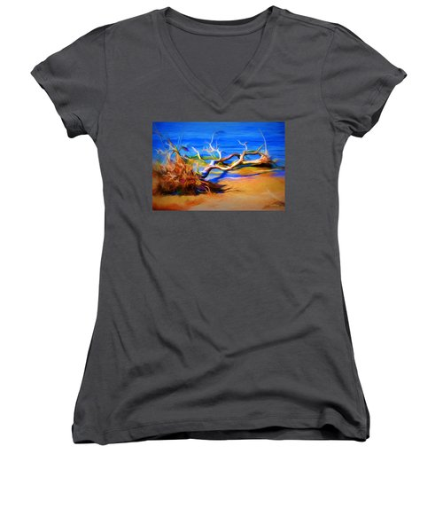 Driftwood Women's V-Neck T-Shirt (Junior Cut) by Ludwig Keck