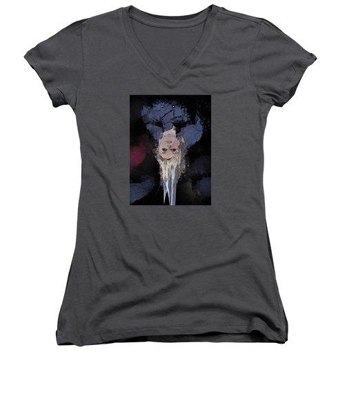 Women's V-Neck T-Shirt (Junior Cut) featuring the digital art Drip by Galen Valle