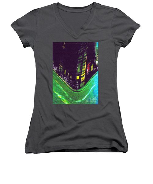 Driving By - Night Time In Bologna Women's V-Neck (Athletic Fit)