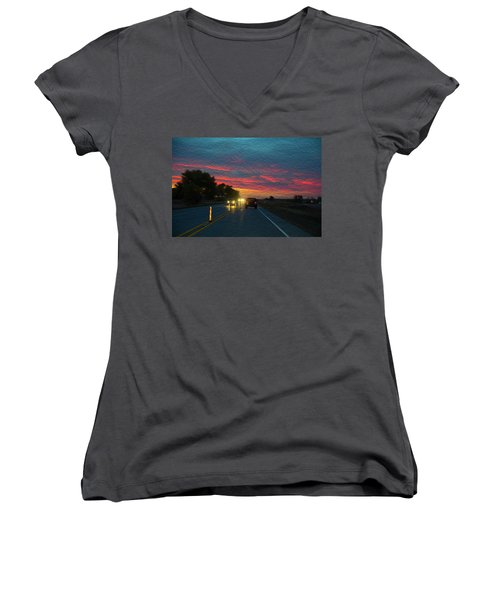 Driving Dusk Women's V-Neck T-Shirt