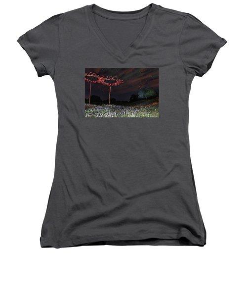 Drone Flowers Women's V-Neck T-Shirt (Junior Cut) by Andrew Nourse