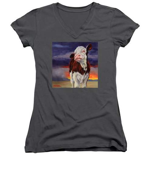 Women's V-Neck T-Shirt (Junior Cut) featuring the painting Drought Breaker by Margaret Stockdale