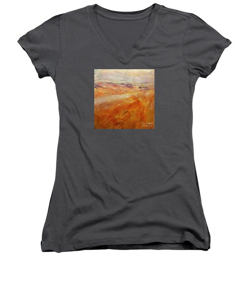 Women's V-Neck T-Shirt (Junior Cut) featuring the painting Drought by Dragica  Micki Fortuna
