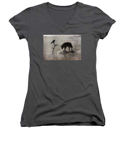 Druid Wolf And Raven Silhouette Women's V-Neck