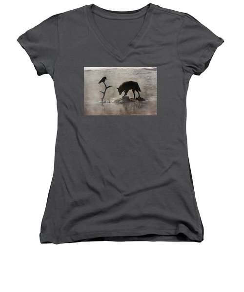 Druid Wolf And Raven Silhouette Women's V-Neck (Athletic Fit)
