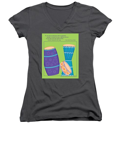 Drums - Thoreau Quote Women's V-Neck