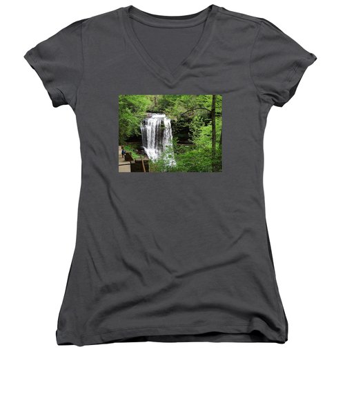 Women's V-Neck T-Shirt (Junior Cut) featuring the photograph Dry Falls In The Spring by Cathy Harper