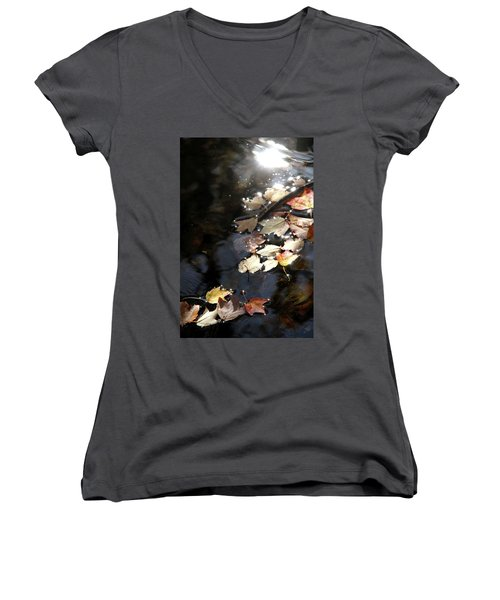 Dry Leaves Floating On The Surface Of A Stream Women's V-Neck T-Shirt