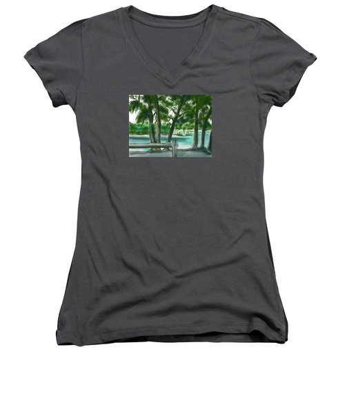 Women's V-Neck T-Shirt (Junior Cut) featuring the painting Dubois Park Lagoon by Jean Pacheco Ravinski