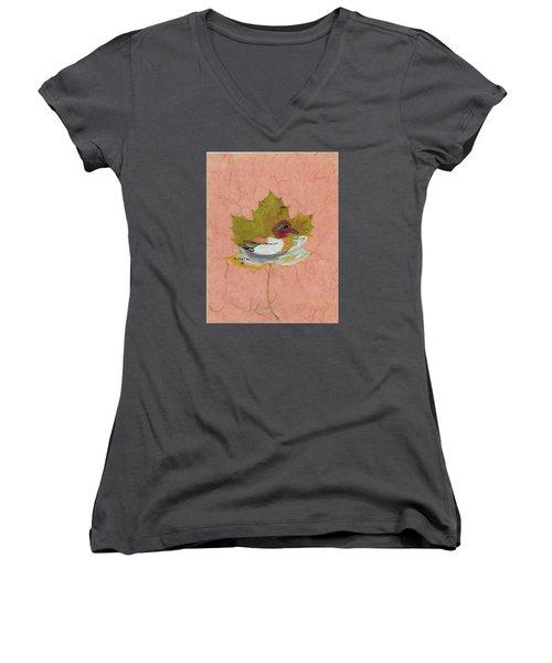 Duck On Pond Women's V-Neck T-Shirt (Junior Cut) by Ralph Root