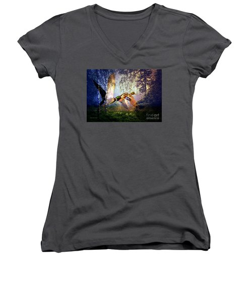 Ducks Flying To The Lake Women's V-Neck (Athletic Fit)