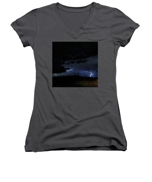 Dueling Lightning Bolts Women's V-Neck