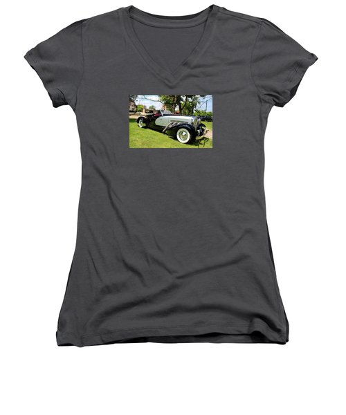 Women's V-Neck T-Shirt (Junior Cut) featuring the photograph Duesenberg Vii by Michiale Schneider
