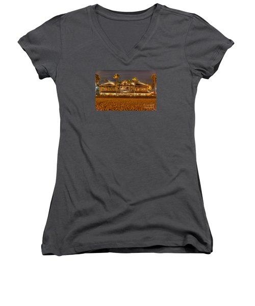 Duke's Restaurant Huntington Beach - Back Women's V-Neck T-Shirt (Junior Cut) by Jim Carrell