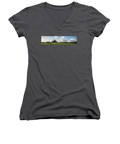 Dunbrody Abbey Women's V-Neck T-Shirt (Junior Cut) by Martina Fagan
