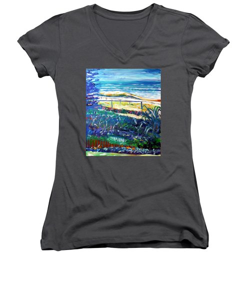 Women's V-Neck T-Shirt (Junior Cut) featuring the painting Dune Grasses by Winsome Gunning