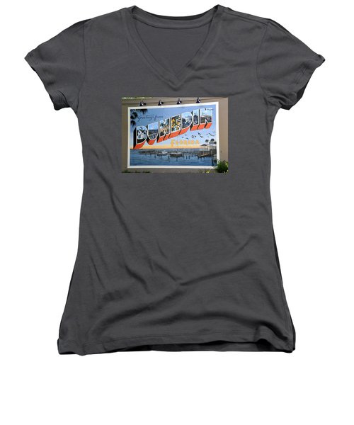 Dunedin Florida Post Card Women's V-Neck (Athletic Fit)